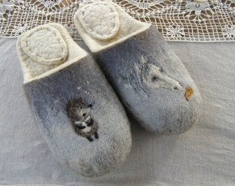"""Eco friendly handmade felted slippers. Slippers for home use with a picture on motives of the cartoon """"Hedgehog in the fog"""""""