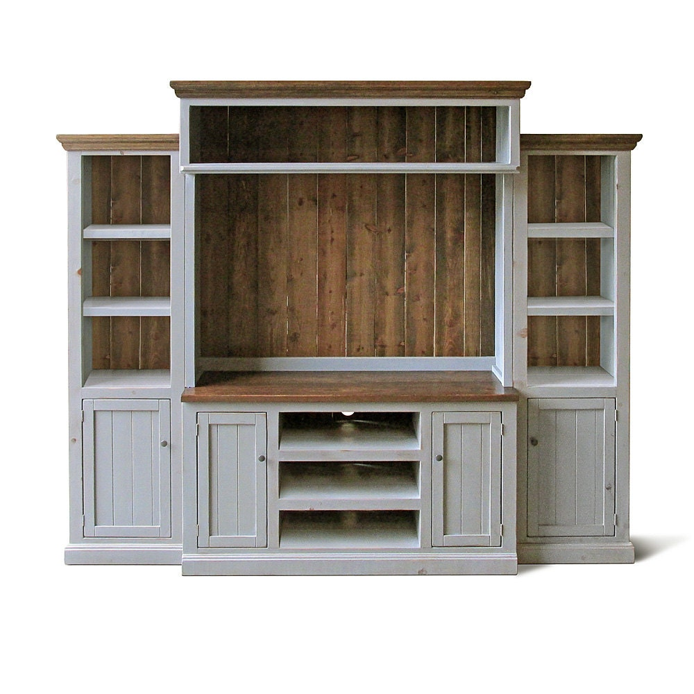 Entertainment center media console home theater reclaimed for Media center with bookshelves