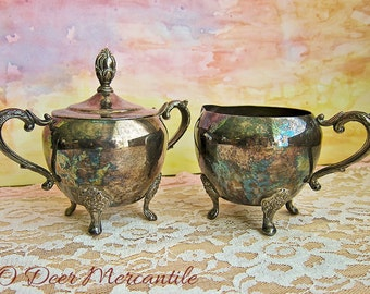 Vintage Silver Plated Footed Sugar and Creamer: Ornate Shabby Silver Serving Ware