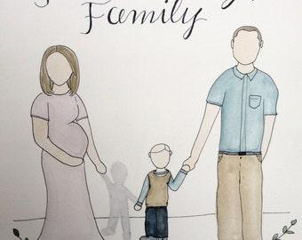 Custom watercolor family portraits