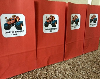 Blaze and the monster machine inspired small favor bags, set of 12! Blaze inspired goody bags.