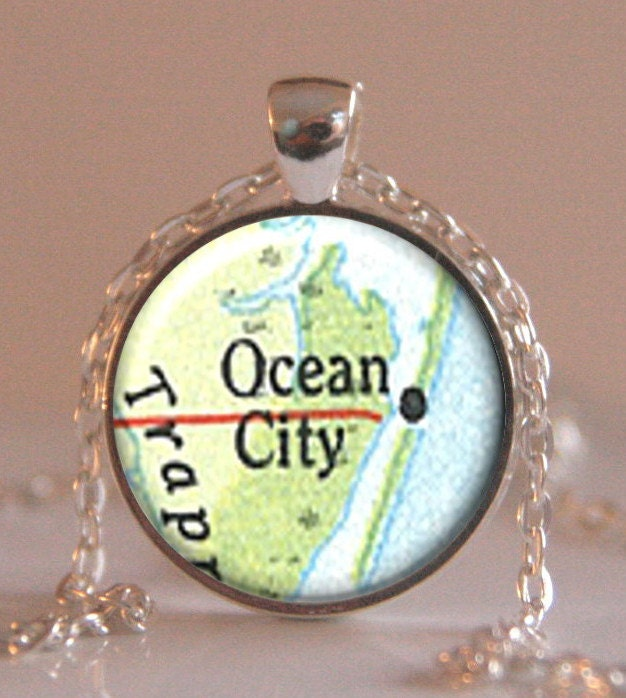 ocean city maryland map pendant map necklace map jewelry map