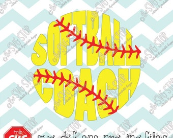 Softball Coach Circle Design Svg Eps Dxf Jpg Png files for Cricut, Silhouette, Vinyl Cutters and Printing Projects