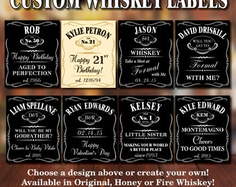Custom WHISKEY Bottle Labels for Any Occasion!