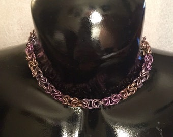 Chainmail anodized titatium necklace