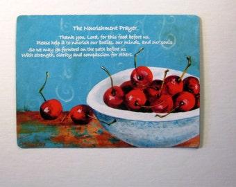 Cherry Refrigerator Magnet, Kitchen Prayer, Kitchen Magnet, Cherry Art, Fridge Magnet, Christian Kitchen, Nourishment Prayer