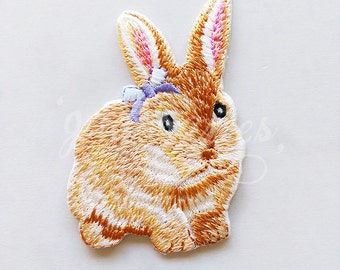 Cute Rabbit Animal Iron On Sew Patch Applique Badge Embroidered Craft DIY Fabric