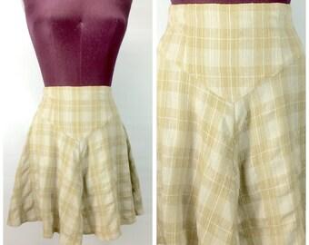 90s Vtg XS Mini Skirt Plaid CLUELESS School Girl Olive Green Plaid
