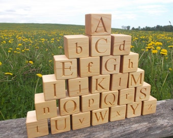 "2"" 26 Wooden English alphabet blocks, ABC blocks, Wood Letter Cube, 2 in 1, Wooden alphabet blocks, Personalized cubes, ABC blocks"