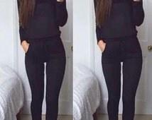 Black knitted JogSuit/Tracksuit