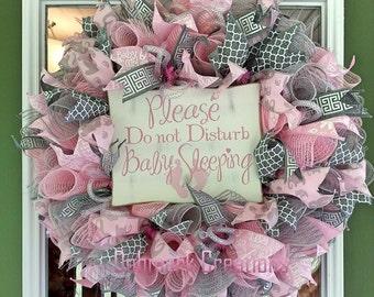 Baby girl wreath, Hospital door wreath, Baby nursery wreath, Front door wreath, Mesh wreath