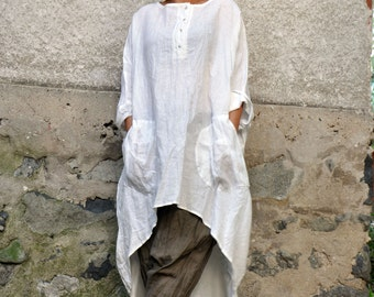 White 100% linen tunic/Oversize top/Maxi tunic/Long linen tunic/casual linen tunic/Handmade tunic/Woman loose tunic/Tunic with pockets/T0224