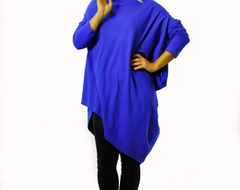 Royal blue oversized tunic/Asymmetrical long tunic/Casual long sleeves tunic/cotton maxi top/Blue top tunic/extravagant loose tunic/T1249