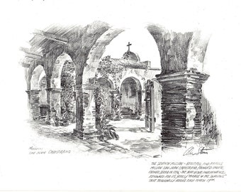 Mission San Juan Capistrano, on The back is Mission San Juan Bautista by Alec Stern