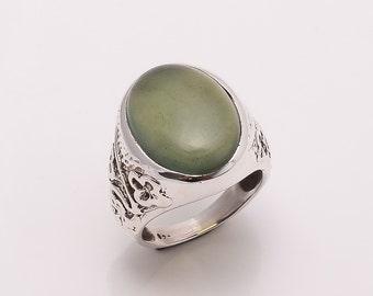 925 Solid Sterling Fine Silver Green Aventurine  Ring