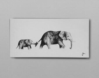 "6"" x 14"" Canvas Elephant Painting"