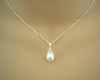 Victoria ~ Pure White, Teardrop Pearl Necklace, Quality Czech Pearl Drop, Pear shaped, Bridal Jewelry, Bridesmaids Necklace, Wedding Pendant