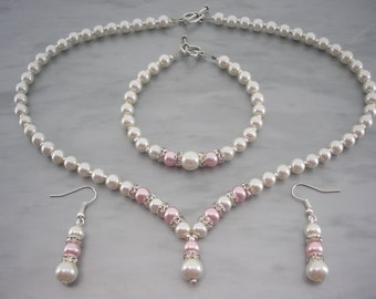 Catherine ~ Ivory and Blush Pink Pearl with Crystal Diamante spacers Necklace Bracelet & Earrings Jewellery Set (2dr)