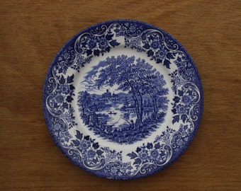 "Broadhurst 'The English Scene' Blue and White tea plate 6.75"" inches Replacement (Two available)"