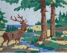 Old Embroidery Deer Little Embroidered Picture Ukrainian Hand Embroidery Forest Landscape Traditional Folk Art Small Gobelin Tapestry
