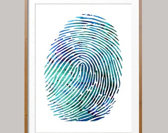 Fingerprint Watercolor Print fingerprint poster fingerprint illustration Wall Art anatomy art science art gift fingerprint Wall decor [N492]