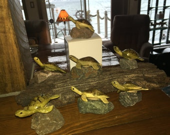 Baby Sea Turtle on River rock - Hand Carved