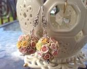 Custom Order for Pauline. Pomander Kissing Ball Earrings with Miniature Pastel Coloured Roses