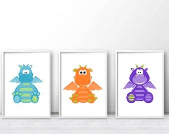 Kids prints, Boys Room Art, Kids Wall Art Prints, Boy Nursery Art, Dragon Nursery Wall Art, Nursery Set, Printable Wall Art Set Of 3 Prints