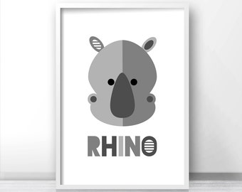 Modern nursery art print, rhino kids wall art, kids art print, digital printable art, safari art, animal nursery print, gray nursery decor