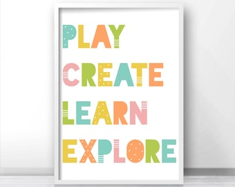 Playroom Decor, Nursery Wall Art, Kids Print, Nursery Print, Kids Wall Art, Digital Download Nursery Art, Play, Create, Learn, Explore Print