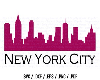 New York City Skyline Clipart Design, Use With Silhouette and Cricut Software, DXF Files, SVG Font, EPS File, Svg Font, Silhouette - CA300