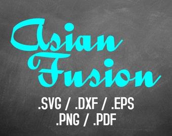 Asian Fusion Font, Design File, Silhouette Studio, Cricut Design, Brother Scan Cut, Scal, DXF File, SVG Font, EPS File, Svg File Fusion Font
