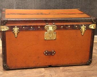 1900's Orange Louis Vuitton Steamer Trunk