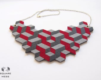 Geometric  felt necklace in all colours