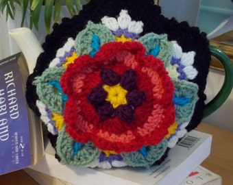 """MEXICAN POSY Tea Cosy - one of a kind crochet cosy is a bit of an extrovert, and definitely says """"Look at Me""""!"""