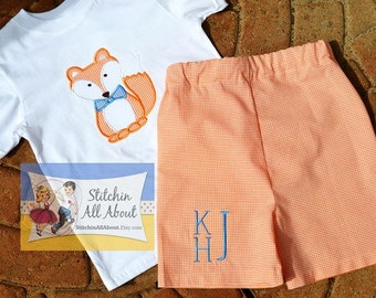 Baby Boys, Toddler Boys, Boys Personalized Tee, Fox applique Tshirt and Short Set Size12m, 18m, 24m/2t, 3t, 4t, 5t, 6