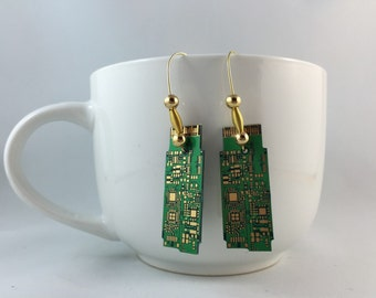 Circuit Board Earrings - Techie Earrings - Green & Gold Circuit Board  Earrings
