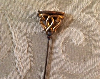 Gold Gilt Hat Pin with Filagree Design
