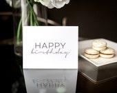 Happy Birthday Letterpress Greeting Card, Black Letterpress, Birthday Card, Blank Inside