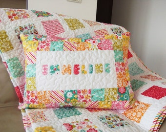 Personalized Quilt Sham, Patchwork Sham, Name Applique Sham, Quilted Sham, Patchork cushion, Quilted Cushion, Quilted Pillow