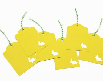 Easter Gift Tags, Happy Easter Tags, Easter Bunny Tags, Easter Favor Tags, Easter Hang Tags, Yellow Tags, Set of 6