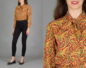 Vintage 70s Medium / Large Red & Gold Paisley Long Sleeve Button Down Shirt with Neck Tie