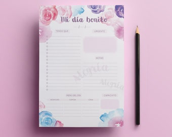 Organizer, Planner with flowers in watercolor
