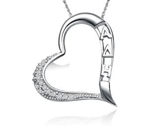 Alpha Delta Eta Lavalier,  Embedded Heart Design, Sterling Silver (ADE-P004)