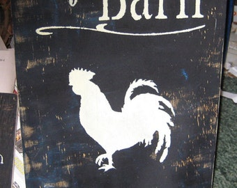 My Barn My Rules rooster.....Primitive/ decor / handmade / gift/ country/ humor