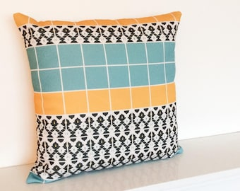 Geometric/Morrocan Double Print Cushion/Pillow Cover in 18 x 18""