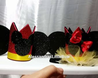 Twins mickey and minnie mouse crowns, red minnie and Mickey mouse birthday outfit Minnie mouse birthday hat , Mickey mouse birthday hat