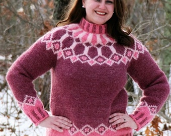 Cathedral Diamonds Pink Icelandic Lopi Woman's Sweater Size Medium