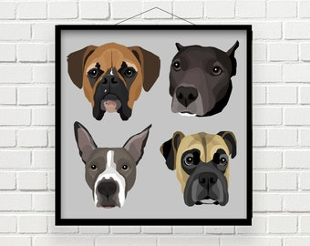 FOUR-IN-ONE Custom Pet Portrait | Digital File | Print at Home | Pet Gift | Made to Order