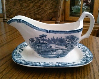 """ROYAL STAFFORDSHIRE """"Tonquin"""" Blue Transferware Gravy Boat with Underplate Clarice Cliff"""